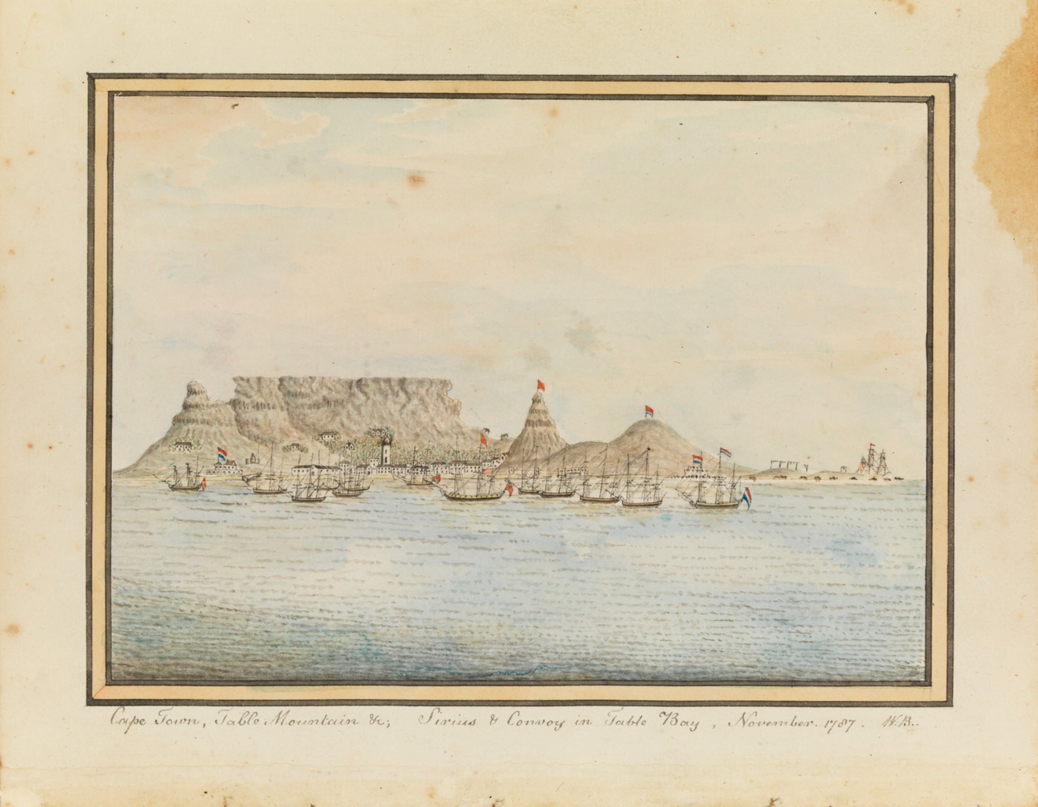 Cape Town, Table Mountain &c; Sirius & Convoy in Table Bay, November 1787