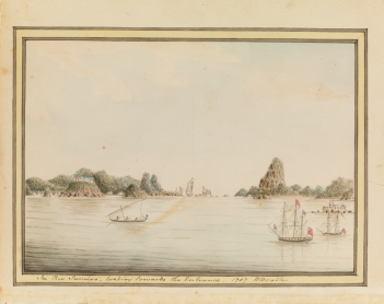 "William Bradley, ""In Rio Janeiro, looking towards the Entrance. 1787,"" William Bradley drawings from his journal ""A Voyage to New South Wales,"" (c. 1802), Safe 1 / 14 / FL1113922, Mitchell Library, State Library of New South Wales."