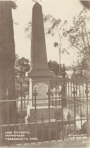 """Lady Fitzroy's Monument, Parramatta Park,"" Scenes of Parramatta Park, N.S.W., by Broadhurst, (c. 1900–1927), PXA 635 / 712-718 / FL1011362, State Library of New South Wales."