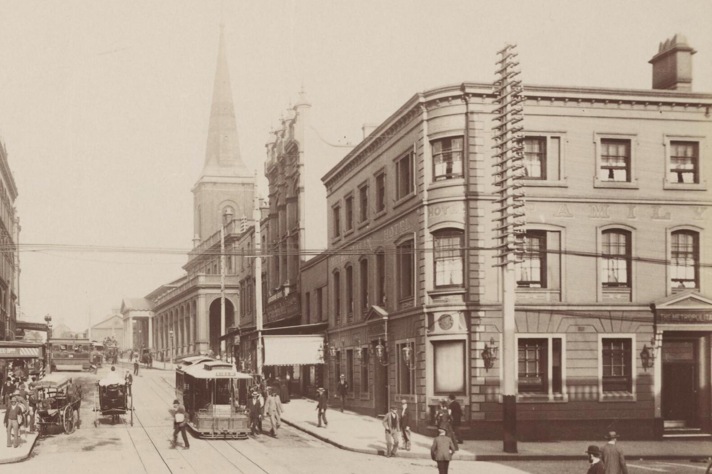 Metropolitan Hotel, corner of King and Castlereagh Streets, Sydney, c.1895