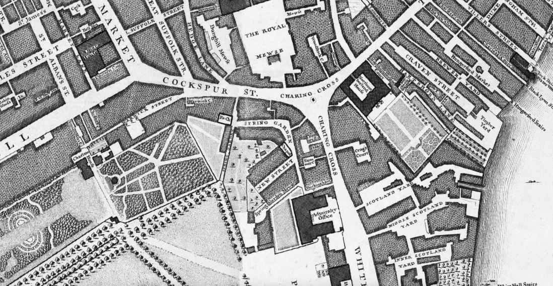 New Street, Spring Garden, near Charing Cross, 1746 John Rocque Map