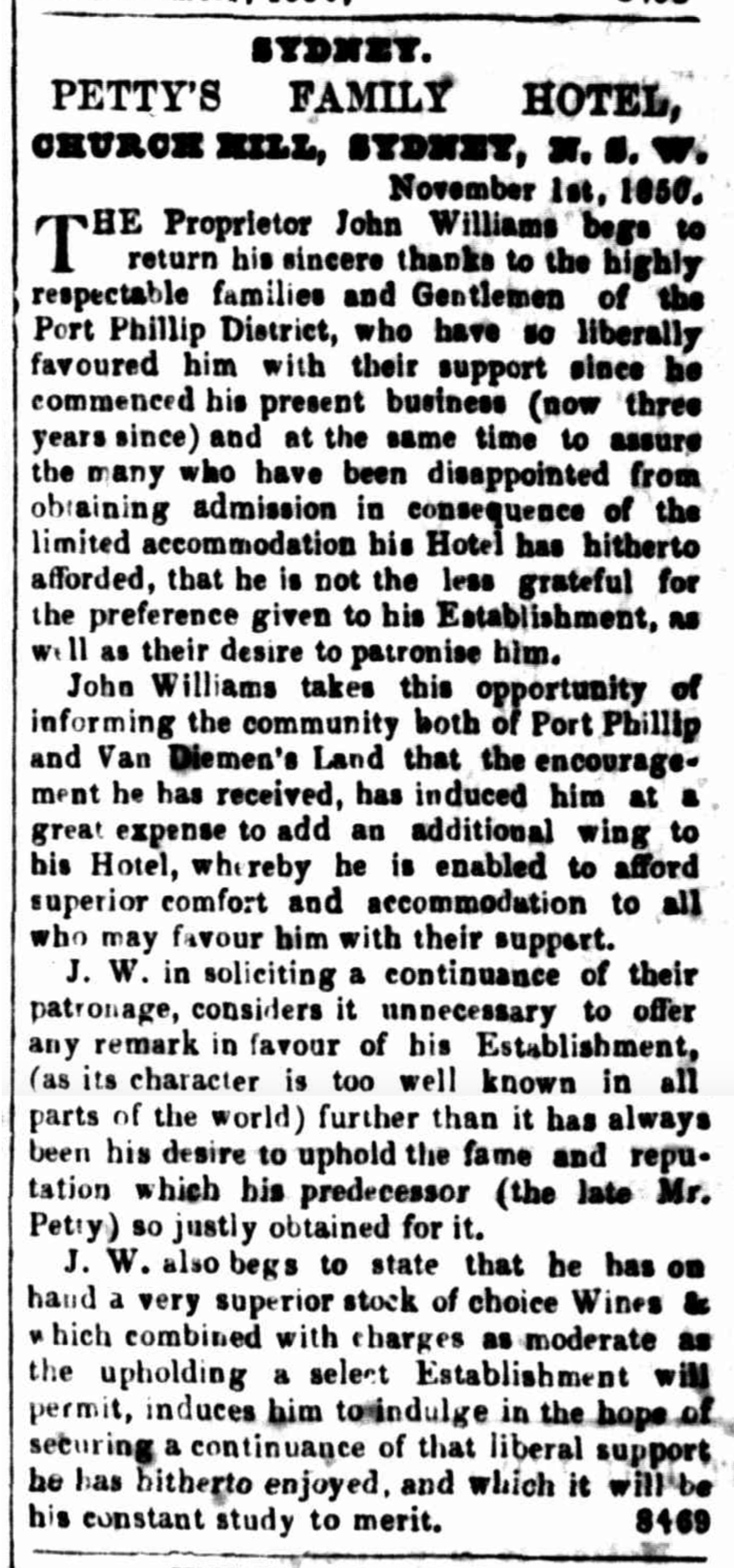 Petty's Family Hotel Advertisement, 1 November 1850