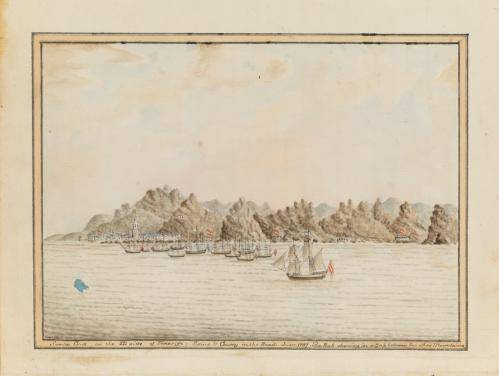 Santa Cruz on the SE side of Teneriffe ; Sirius & Convoy in the Roads. June 1787, by William Bradley
