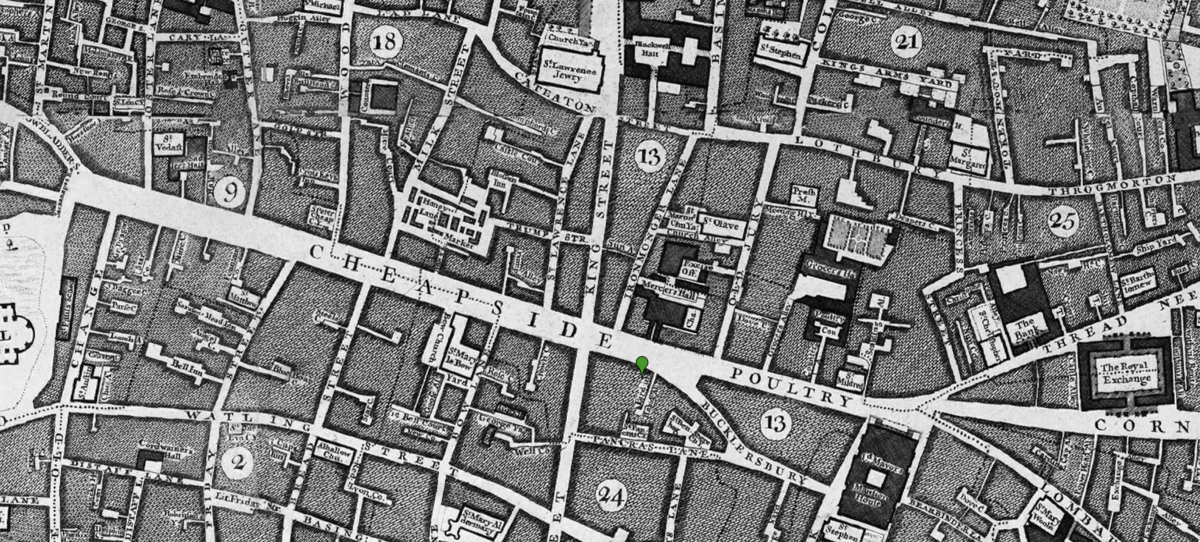 The scene of John Isaac Williams's crime, corner of Cheapside and King, & Bird-in-Hand Court
