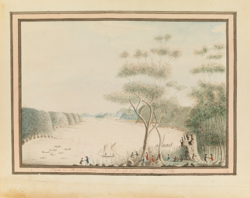 "William Bradley, ""View in Broken Bay New South Wales. March 1788,"" William Bradley drawings from his journal ""A Voyage to New South Wales,"" (c. 1802), Safe 1 / 14 / FL1113931, Mitchell Library, State Library of New South Wales."