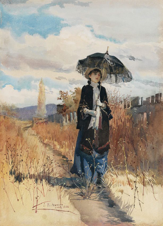 Julian Ashton, A Solitary Ramble, (1888), Public Domain Mark 1.0 , Art Gallery of New South Wales via Wikimedia Commons.