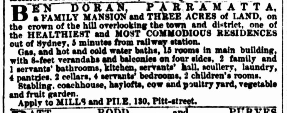 Advertising. Ben Doran, Parramatta, Sydney Morning Herald, 25 Dec 1886, p. 13.