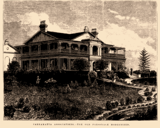 """""""AFTER"""": """"Parramatta Associations. The Old Parsonage Modernized [sic],"""" """"The Old Parsonage, Parramatta,"""" Illustrated Sydney News (NSW : 1881 – 1894), Saturday 17 March 1883, p. 16."""