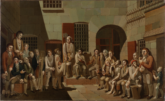 The Mock Trial, 1812, painted by Francis Greenway while he was incarcerated in Newgate Prison, Bristol. ML 1002 / FL9305106, Mitchell Library, State Library of New South Wales.