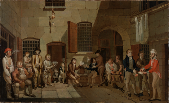Item 2: [Scene inside Newgate Prison, Bristol], 1812, painted by Francis Greenway while he was incarcerated in the prison. ML 1003 / FL9305126, Mitchell Library, State Library of New South Wales.