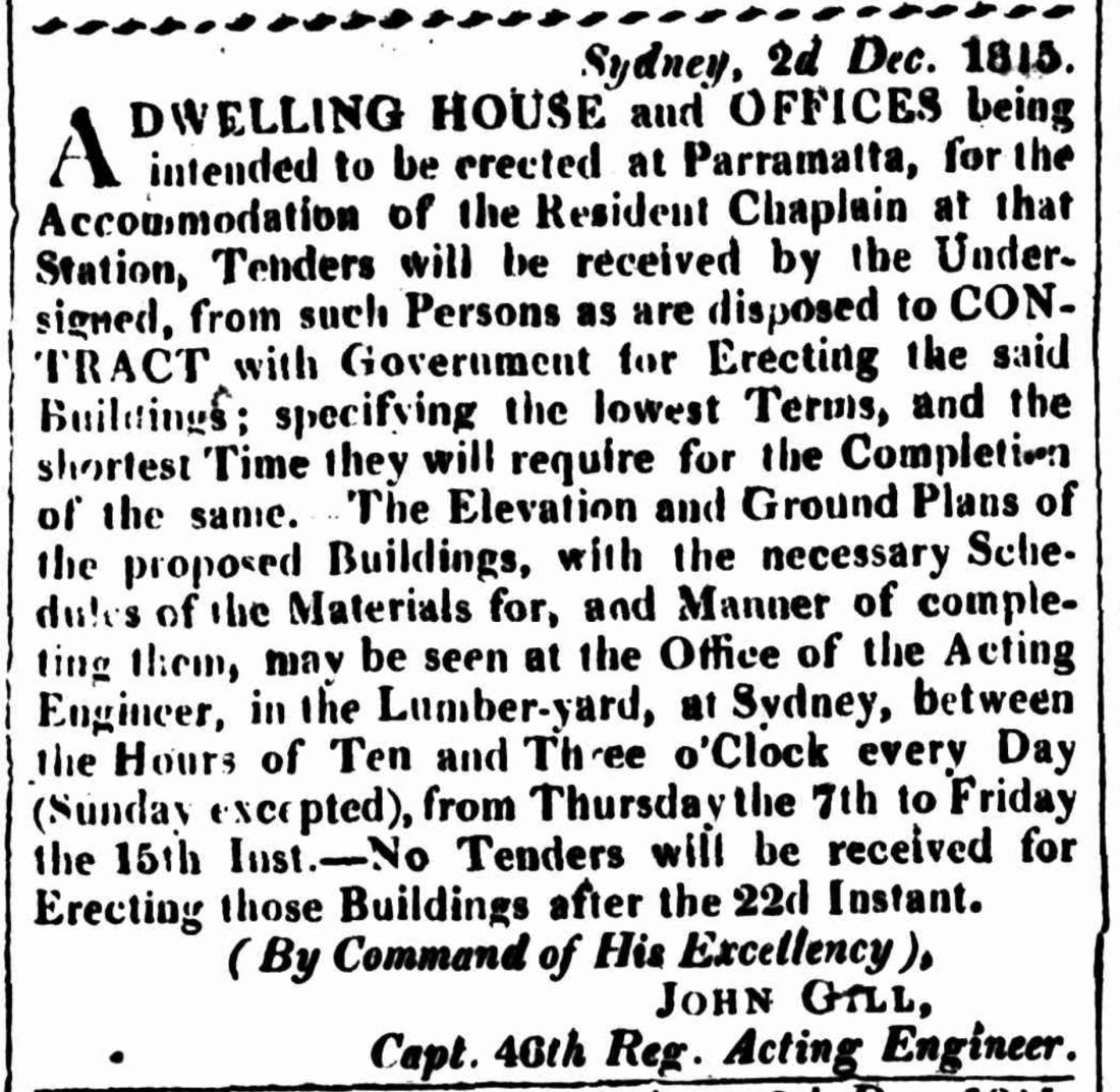 Tenders for St. John's Parsonage, Parramatta, Sydney Gazette, Dec 1815