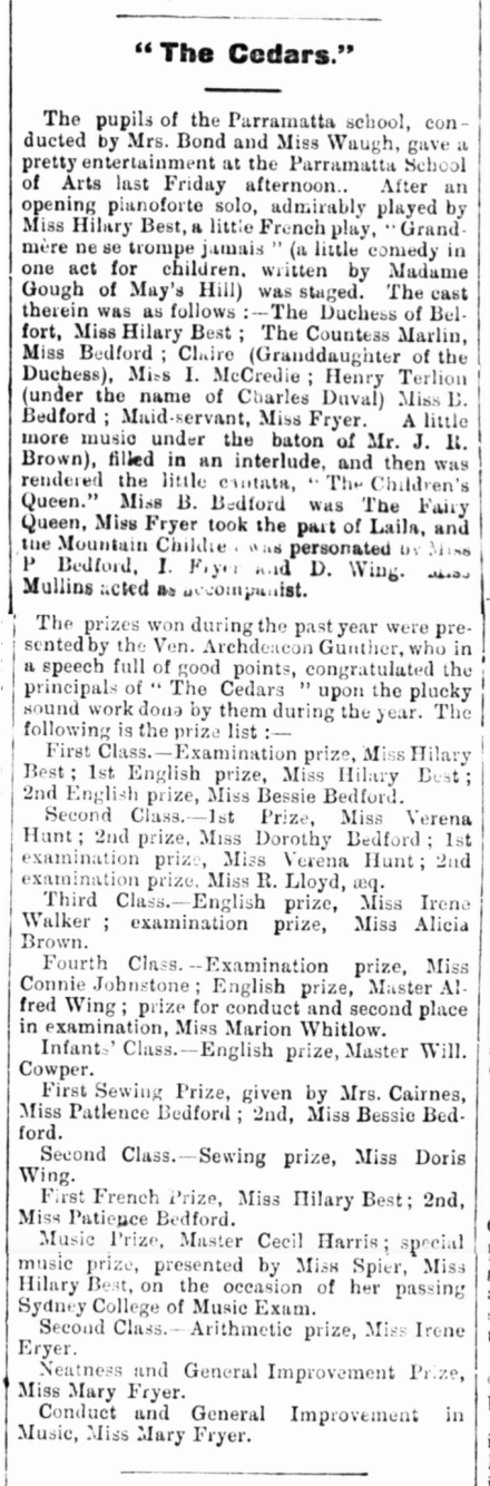 The Cedars Prizes Dec 1899