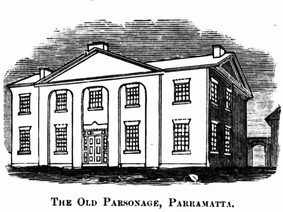 """""""BEFORE"""": """"The Old Parsonage, Parramatta,"""" Illustrated Sydney News (NSW : 1881 – 1894), Saturday 17 March 1883, p. 15."""