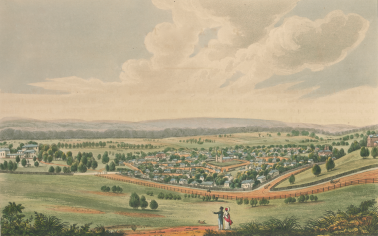 Joseph Lycett, Parramatta, New South Wales (1824). Image 30328102131561/12, State Library Victoria. Originally published in in Joseph Lycett, Views in Australia, or, New South Wales & Van Diemen's Land Delineated, in Fifty Views with Descriptive Letter Press: Dedicated by Permission to the Right Honble. Earl Bathurst, 1824–1825, (73 St. Paul's Church Yard, London: J. Souter, 1825).
