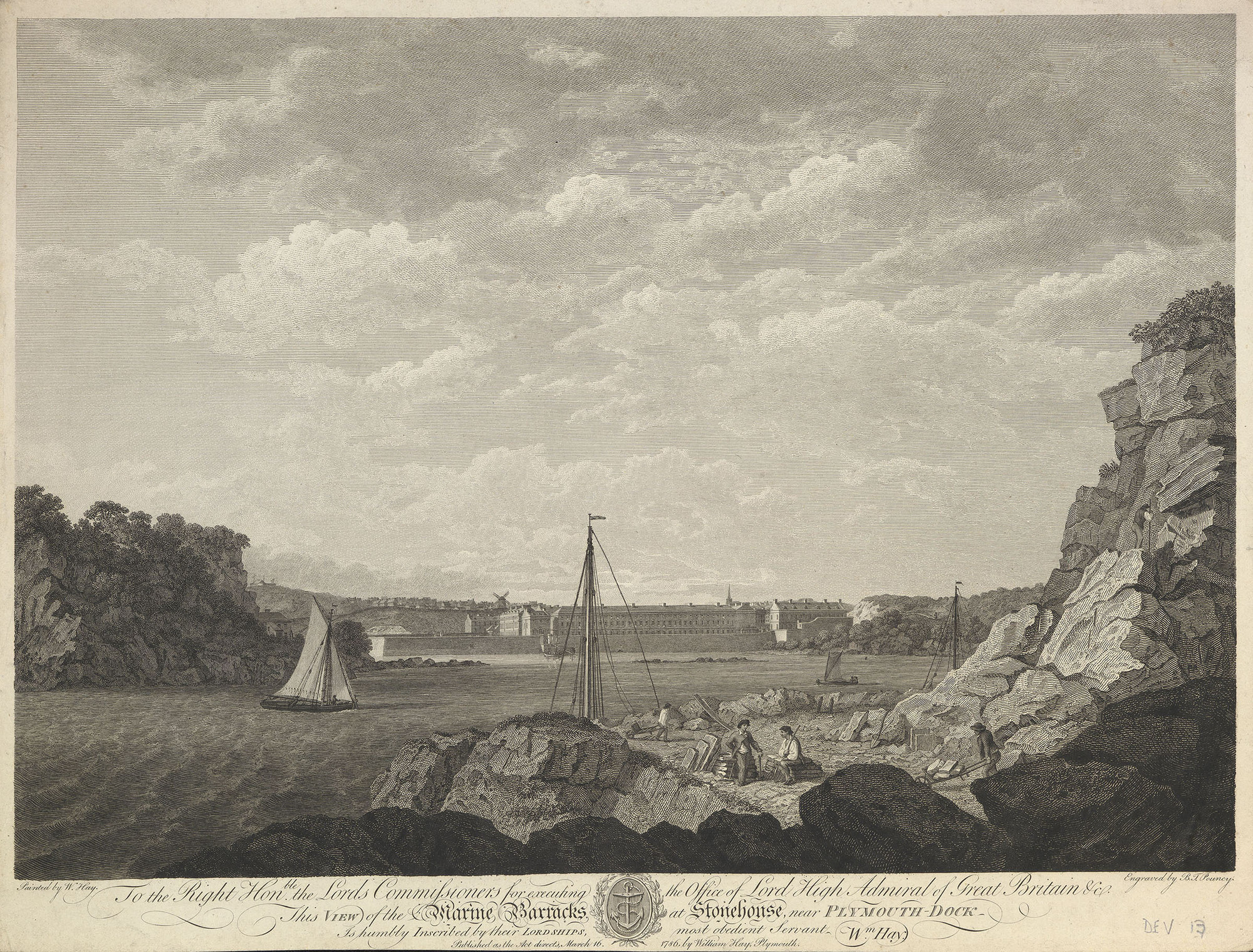 View of the Marine Barracks at Stonehouse Royal Collection Trust